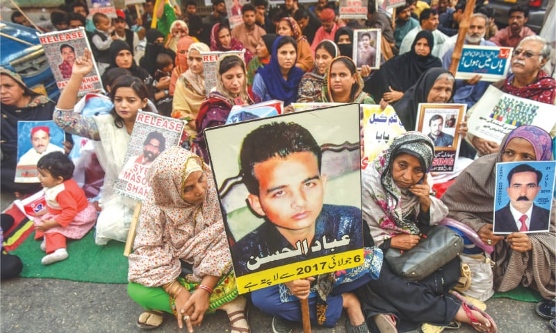 Relatives of 'missing' persons demonstrate outside the KPC while (right) Zulfiqar Shah, along with other activists, speaks at a press conference in the press club.—White Star