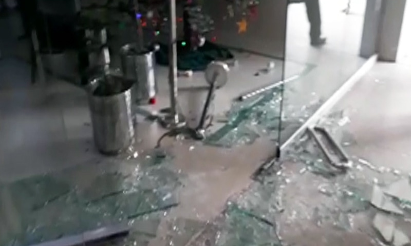 Broken glass inside PIC after protesting lawyers entered the premises. ─ DawnNewsTV