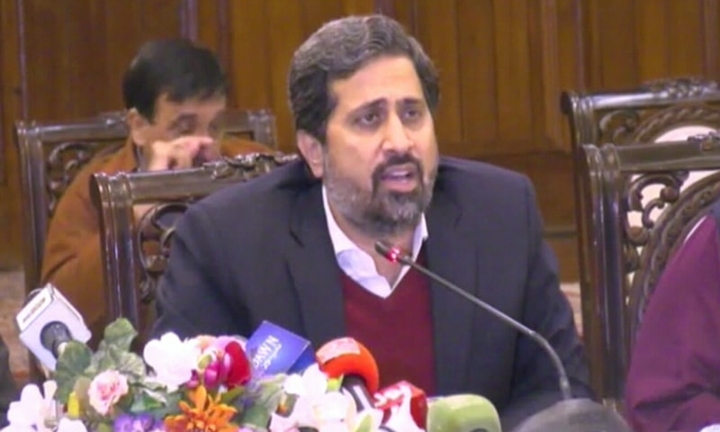 Punjab information minister Fayazul Hasan Chohan speaking to the media. — DawnNewsTV