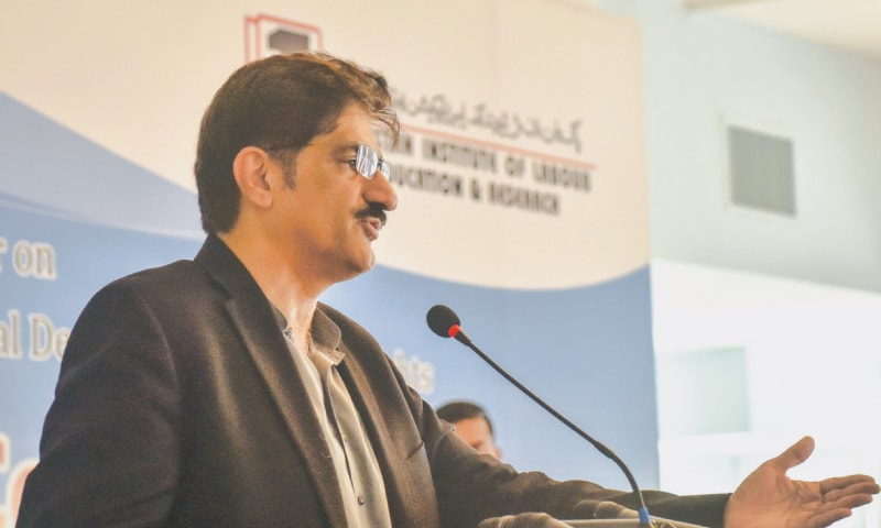 Sindh Chief Minister Murad Ali Shah speaks at a seminar held to mark the 71st anniversary of the Universal Declaration of Human Rights at a hotel in Karachi. —White Star
