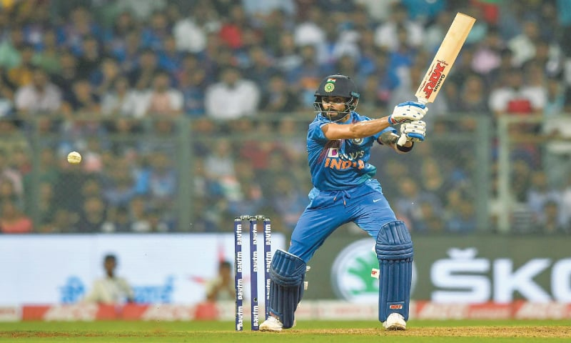 Indian captain Virat Kohli plays a shot during the third T20 International against West Indies at the Wankhede Stadium on Wednesday.—AFP