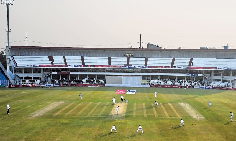 RAWALPINDI: A general view of the first Test between Pakistan and Sri Lanka at the Pindi Cricket Stadium on Wednesday.—AFP