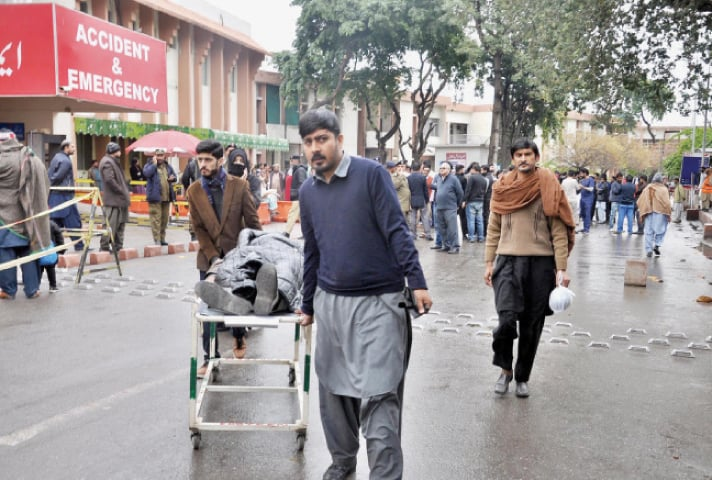 The protest by doctors' over the PIC incident left patients stranded at Pims on Thursday. — Online
