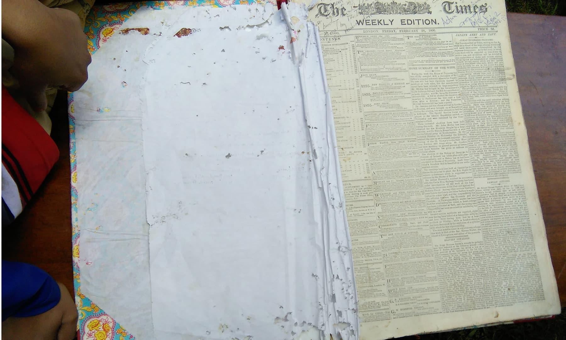 1896ء کے اخباری نمونے—تصویر لکھاری