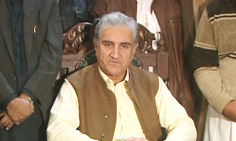 Foreign Minister Shah Mehmood Qureshi speaks to reporters in Multan on Friday. — DawnNewsTV