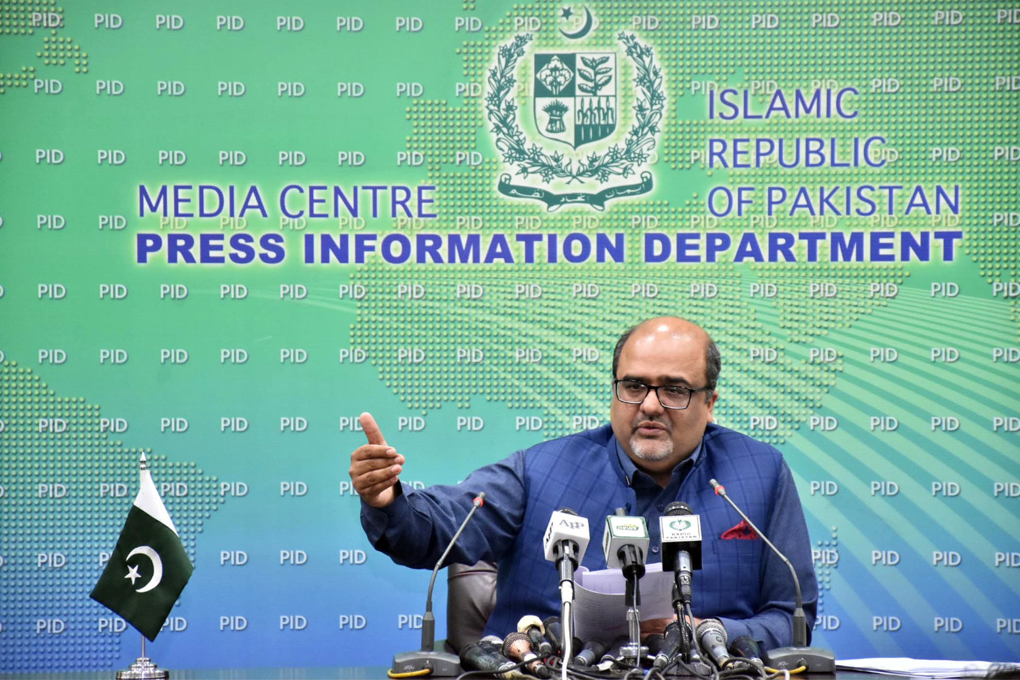 Special Assistant to the Prime Minister on Accountability Shahzad Akbar addressing a press conference in Islamabad on Friday. — PID