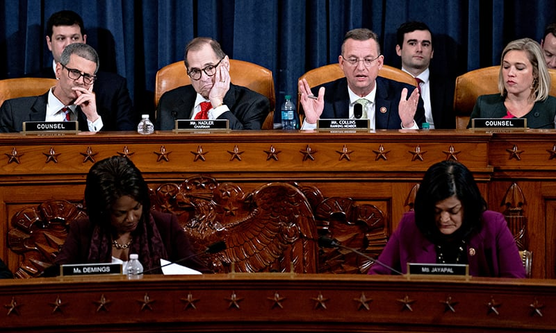 Representative Doug Collins, a Republican from Georgia and ranking member of the House Judiciary Committee, second right, speaks as chairman Representative Jerry Nadler, a Democrat from New York, listens during a hearing in Washington, DC, US, on December 12. — Reuters