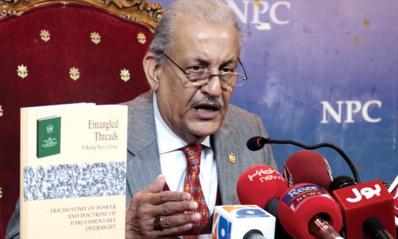 Senator Raza Rabbani speaks during the launch of his book on Friday. — White Star