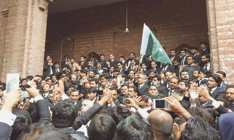 LawyerS gather at the Lahore High Court during the hearing of the hospital attack case.—Aun Jafri / White Star