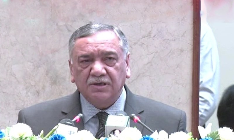 Chief Justice of Pakistan Asif Saeed Khosa addressing a national conference on expeditious justice in Islamabad on Saturday. — DawnNewsTV