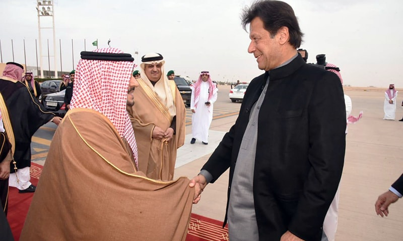 Prime Minister Imran Khan being greeted by Riyadh Governor Faisal bin Bandar Al Saud upon his arrival in Riyadh on Saturday. — PM Office