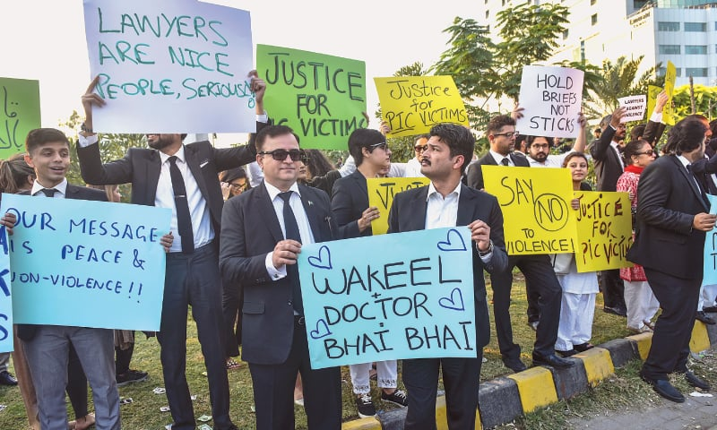 LAWYERS demonstrate at Clifton's Do Talwar roundabout on Saturday.—White Star