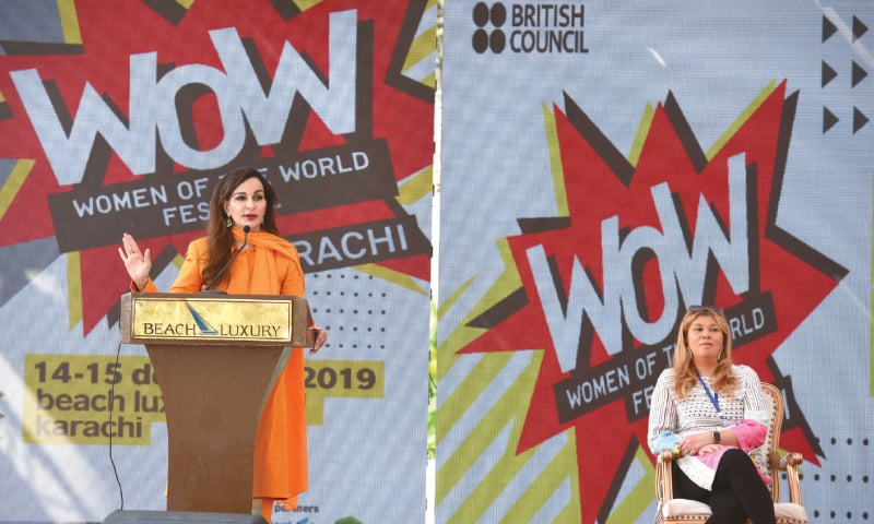 Sherry Rehman speaks at the event on Saturday.—Tahir Jamal/White Star