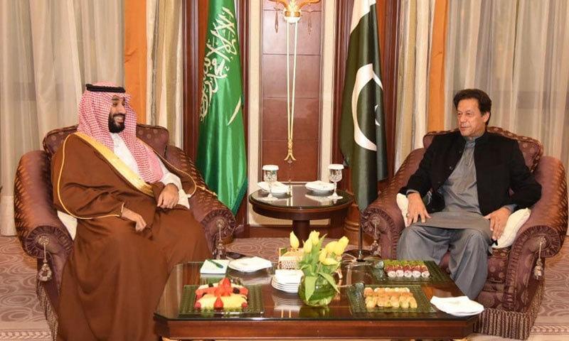وزیر اعظم کی شہزادہ محمد بن سلمان سے ریاض میں ملاقات ہوئی — فوٹو: پی آئی ڈی