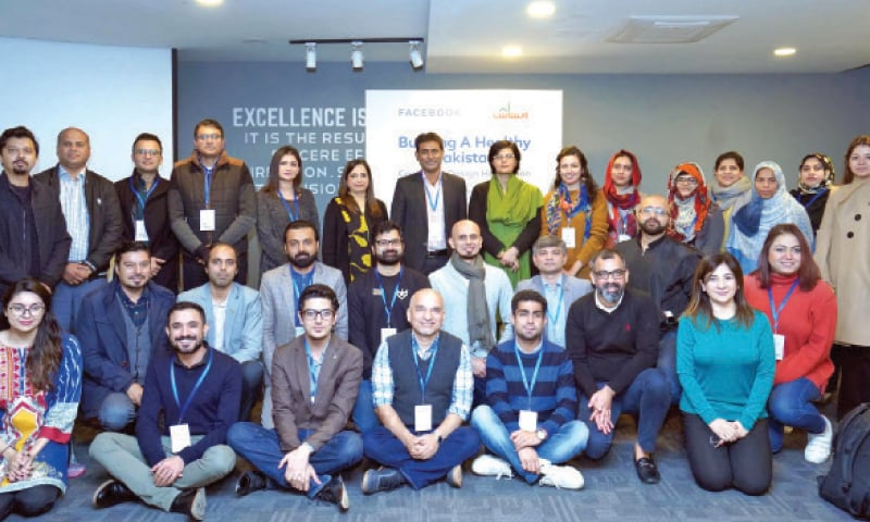 Special Assistant to the Prime Minister on Social Protection and Poverty Alleviation Dr Sania Nishtar with participants at the launch of Ehsaas-FB Design Hackathon on Saturday. — INP