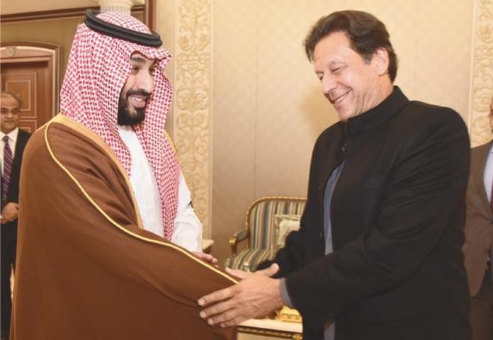 SAUDI Crown Prince Mohammad bin Salman shakes hands with Prime Minister Imran Khan on Saturday.