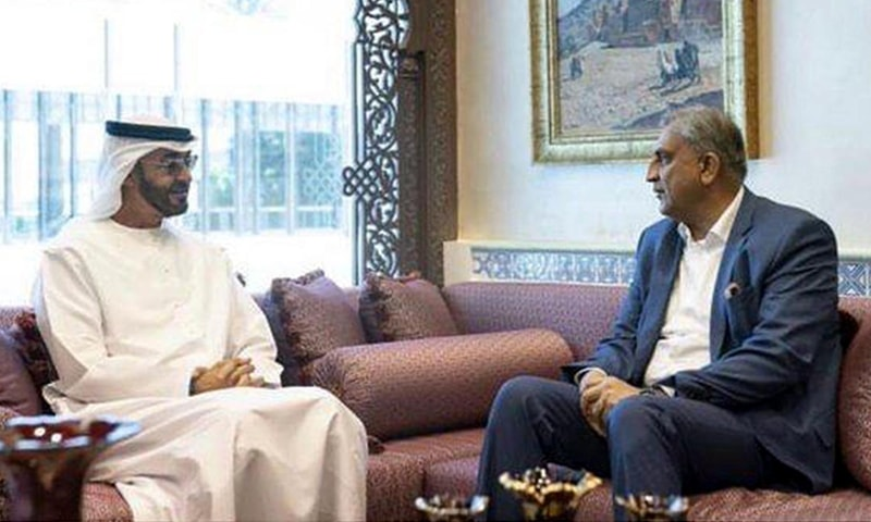 Army Chief Gen Qamar Javed Bajwa pictured during a meeting with Crown Prince of Abu Dhabi and Deputy Supreme Commander of the UAE Armed Forces Sheikh Mohamed bin Zayed Al Nahyan on Saturday.—INP