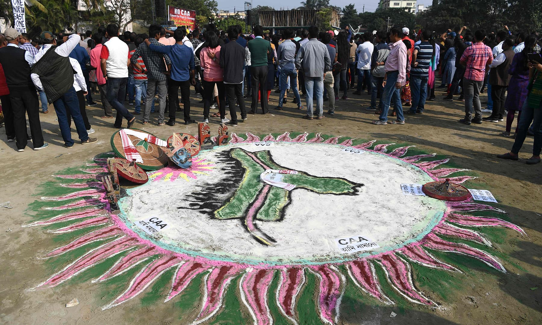 A traditional painting is pictured at a musical concert to protest against the Indian government's Citizenship Amendment Bill in Guhawati on Sunday. — AFP