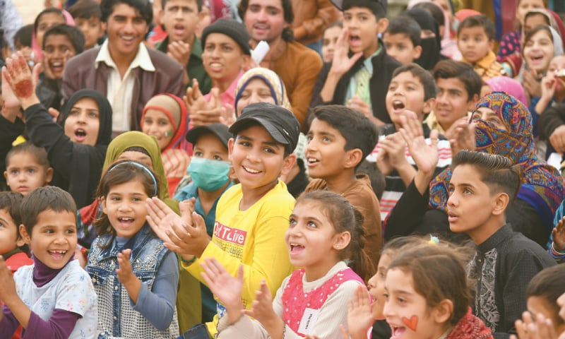 CHILDREN being entertained at the event on Saturday.