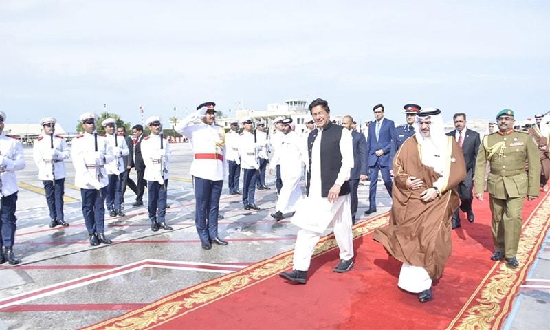 Prime Minister Imran Khan arrives in Bahrain on his maiden visit. He was received by Crown Prince Salman Bin Hamad Bin Isa Al Khalifa. — Photo courtesy Pakistan Tehreek-i-Insaf Twitter account
