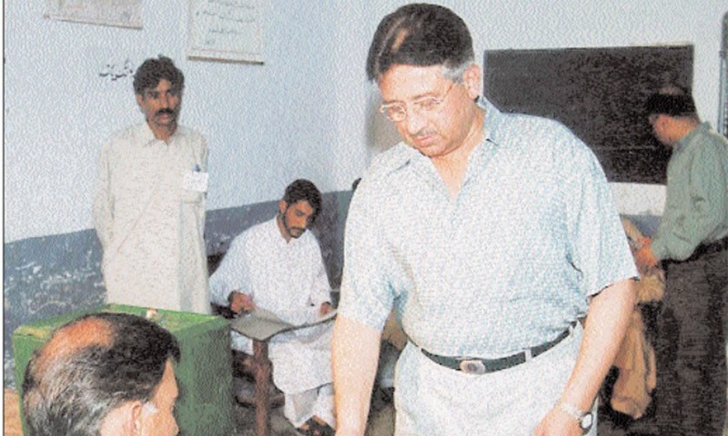 In this file photo from October 11, 2002, Musharraf casts his vote at the Park Road polling station in Islamabad. — Dawn