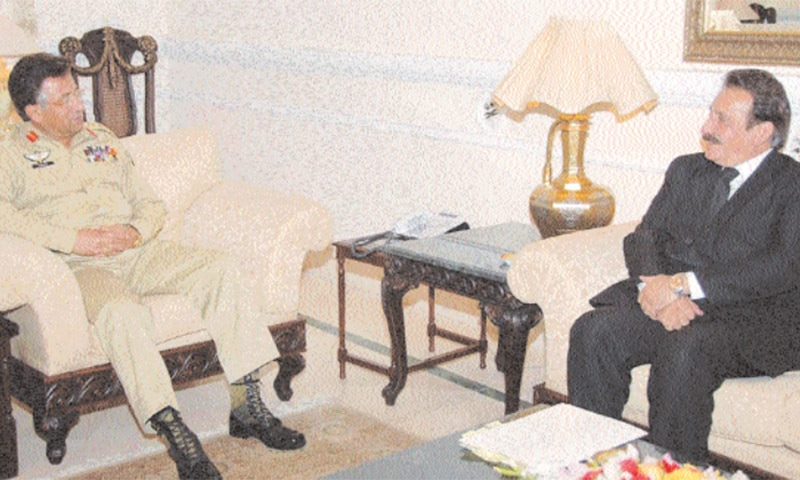 In this file photo from March 10, 2007, Musharraf meets with Justice Iftikhar Chaudhry at the President's Camp office in the annexe of the Army House in Rawalpindi. Musharraf virtually suspended then chief justice and appointed the available senior-most judge at the time, Justice Javed Iqbal. — Reuters