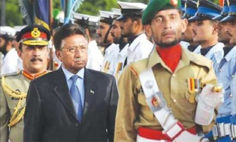 In this file photo from August 19, 2008, Musharraf inspects a Guard of Honour during a farewell ceremony at the presidency. Musharraf tendered his resignation from office to escape the humiliation of impeachment, making way for Pakistan's transition to a full parliamentary democracy after a lengthy military dictatorship. — Dawn Archives