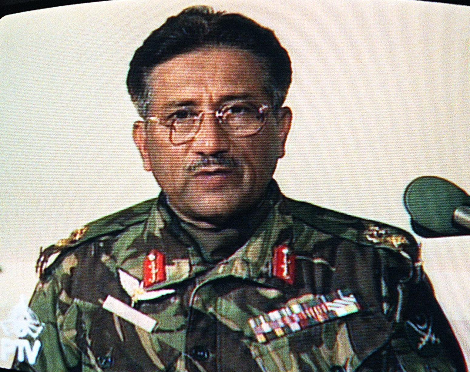 "Television frame-grab of then army chief General Pervez Musharraf's address to the nation October 13, 1999. Musharraf, in a nationwide televised address following the announcement that Prime Minister Nawaz Sharif had been removed from office, said the army had been forced to intervene because of ""uncertainty and turmoil"" gripping the country. — AFP"