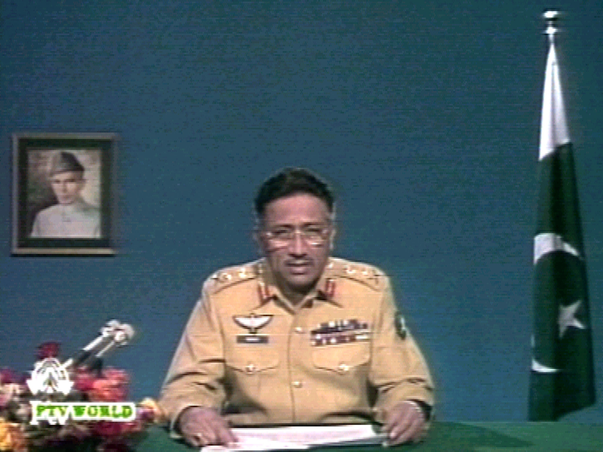 General Pervez Musharraf addresses the nation on state television on October 17, 1999, announcing the setting up of the National Security Council (NSC), to guide cabinet ministers in running the affairs of the country. He said that army rule would last no longer than necessary but gave no clear timeframe. — Reuters