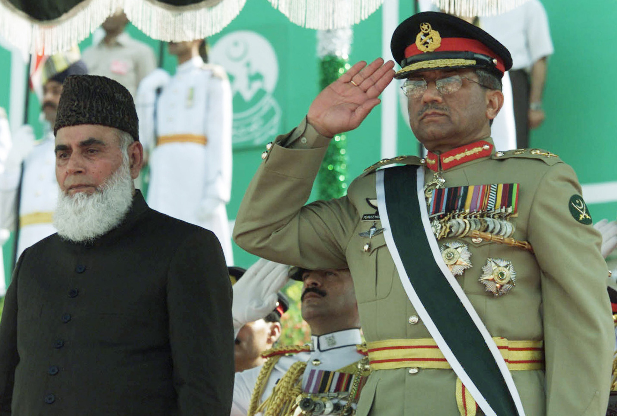 President Mohammad Rafiq Tarar and military ruler General Pervez Musharraf attend the Independence Day ceremony on August 14, 2000. Tarar was later removed from office, clearing the way for the swearing in of Musharraf on June 20, 2001. — Reuters