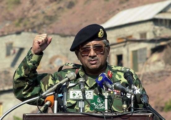 Musharraf gestures during an address to refugees in Muzaffarabad, February 5, 2001. — AFP