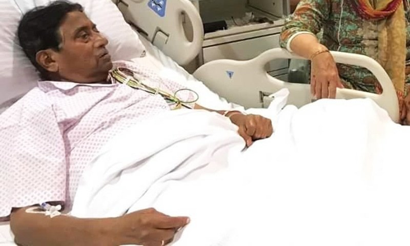 Musharraf at a hospital in Dubai in March this year. — Photo courtesy APML