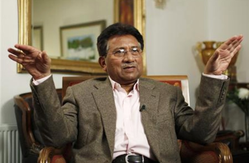 Musharraf gestures during an interview with Reuters in London on January 16, 2011. — Reuters