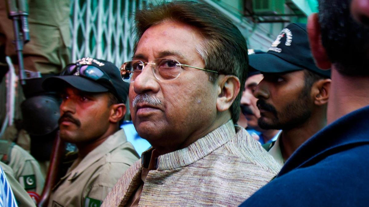Pakistan's former president Pervez Musharraf arrives at an antiterrorism court in Islamabad in April, 2013. — AP