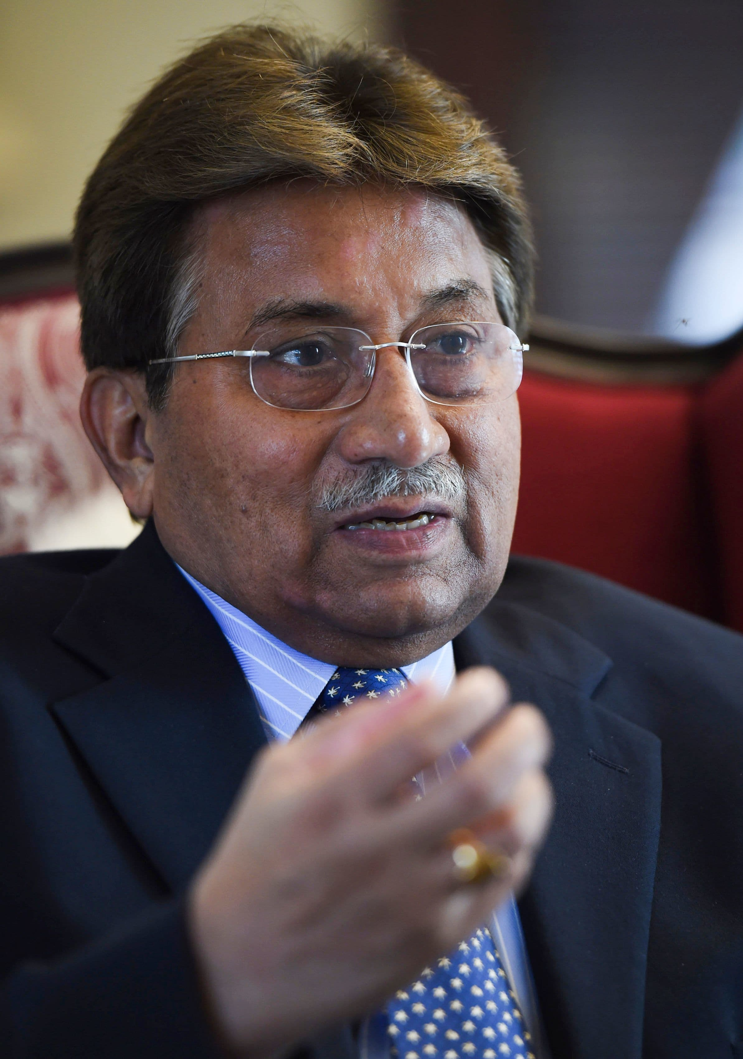 In this photo taken on November 14, 2014 Musharraf gestures during an interview with AFP in Karachi. — AFP