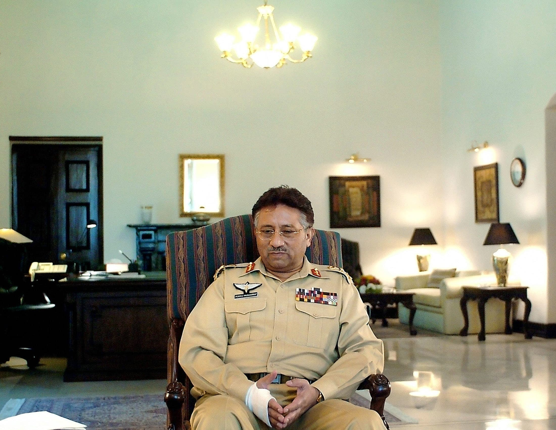 In this photo taken on June 12, 2004, Musharraf answers a question during an interview in Rawalpindi. — AFP