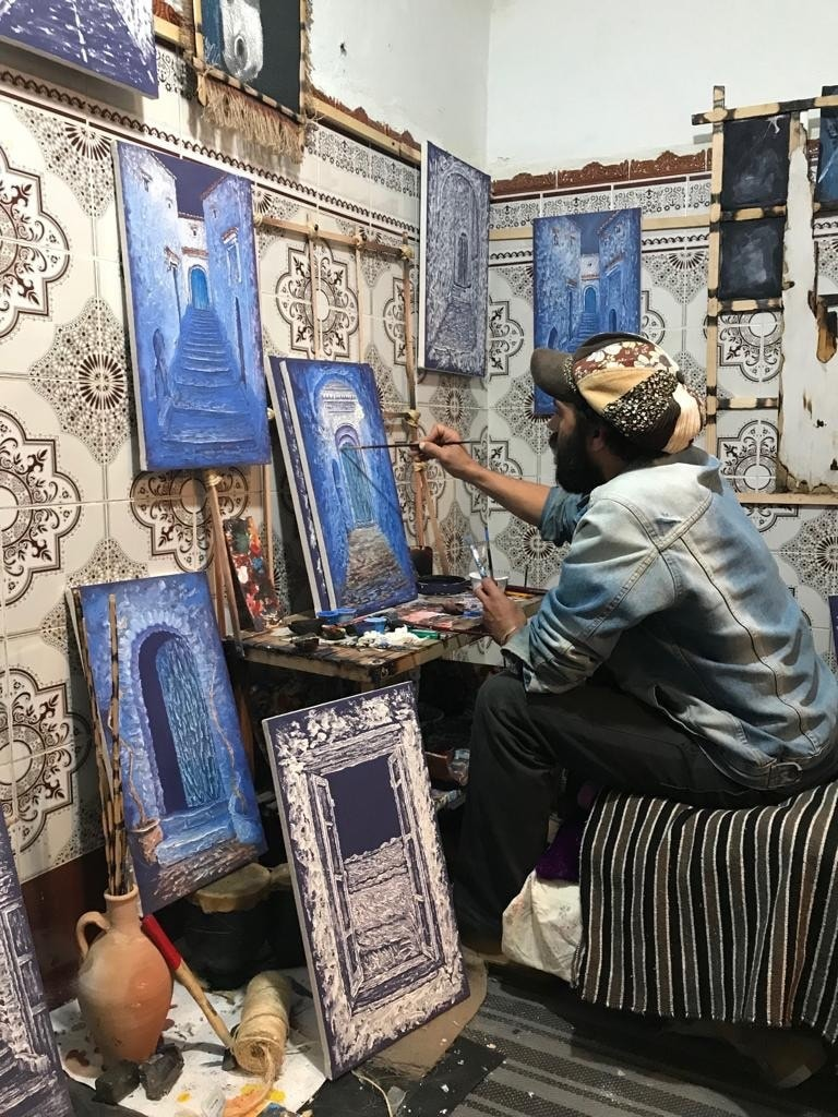 An artist in his workshop in Shafshawan.