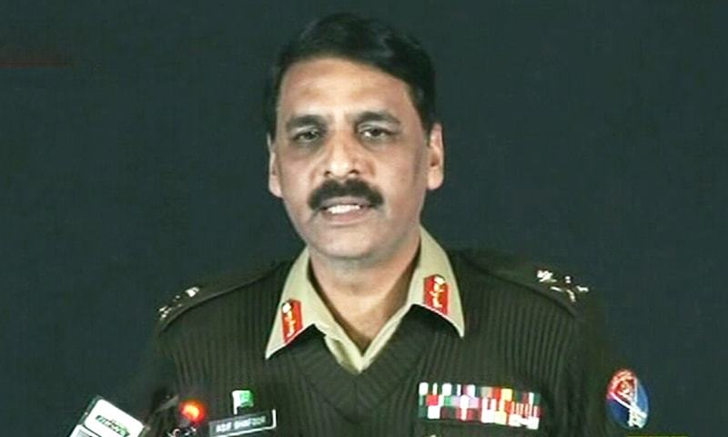 DG ISPR Maj Gen Asif Ghafoor addresses a press conference on Thursday. — DawnNewsTV