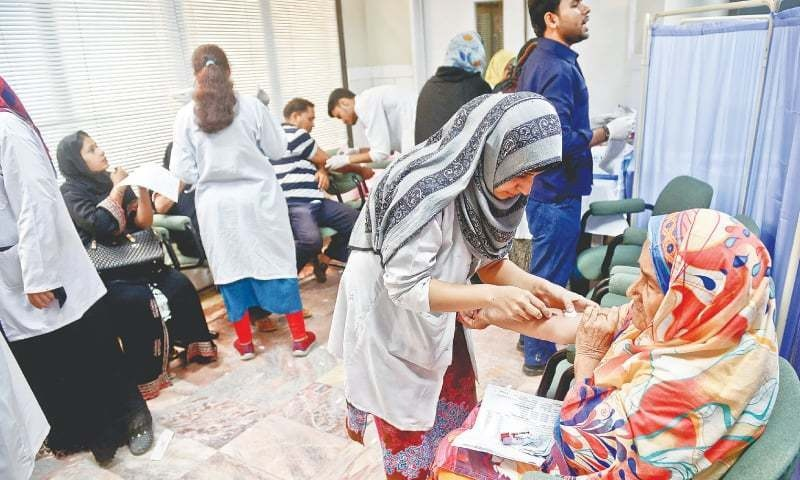Details show that there are 19,109 patients in Sanghar, 19,092 in Ghotki, 16,668 in Khairpur and 14,998 in Shaheed Benazirabad. — Dawn/File