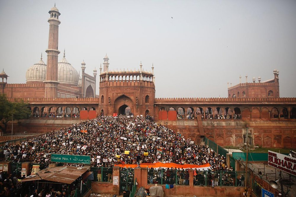 Indians gather for a protest against the Citizenship Amendment Act after Friday prayers outside Jama Masjid in New Delhi. — AP