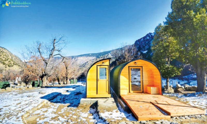 A camping pod in Bamburate valley, Chitral.