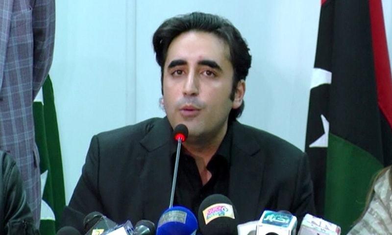 PPP Chairman Bilawal Bhutto-Zardari addresses a press conference in Karachi on Monday. — DawnNewsTV