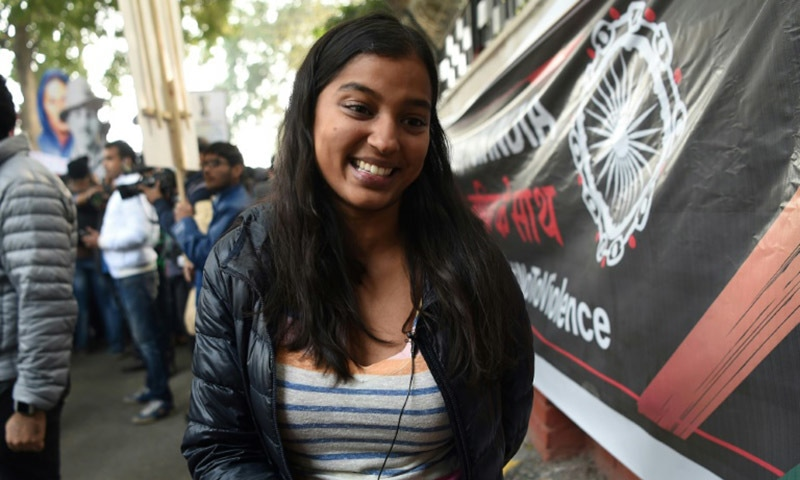 Mansi, 29, was accompanied on a protest against India's new citizenship law by her 64-year-old father. — AFP