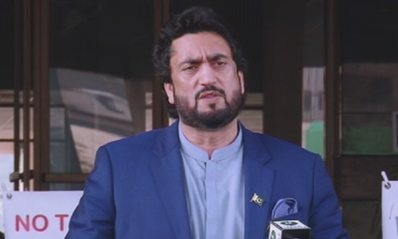 State Minister for Narcotics Control Shehryar Afridi addressing members of the press on Wednesday, December 25. – DawnNewsTV