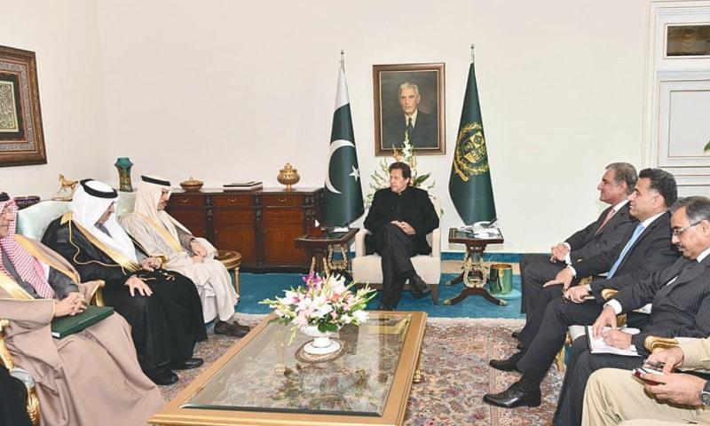 Saudi Foreign Minister Prince Faisal bin Farhan Al-Saud meets Prime Minister Imran Khan on Thursday.—White Star