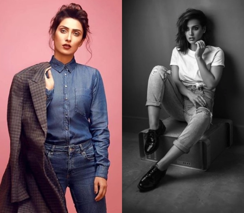 Ayeza Khan's denim-on-denim look has our attention, but we're also really digging those oxford loafers on Iqra Aziz (R)