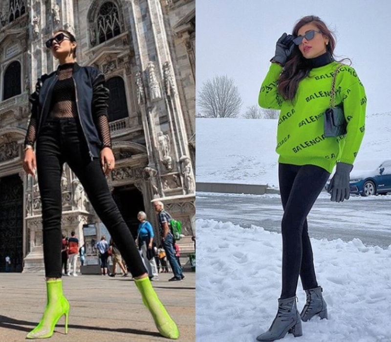 You can start with neon shoes like Alicia Khan (L) and work your way up to a statement sweater like Sadaf Kanwal.