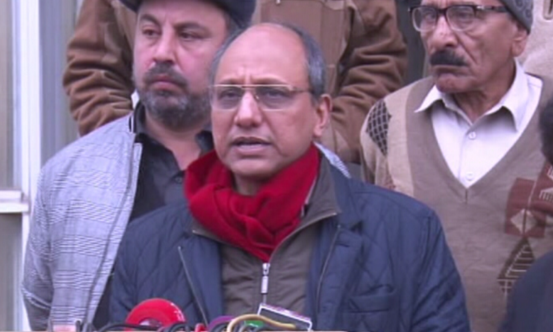 Sindh Information Minister Saeed Ghani speaking to reporters in Islamabad on Saturday. — DawnNewsTV