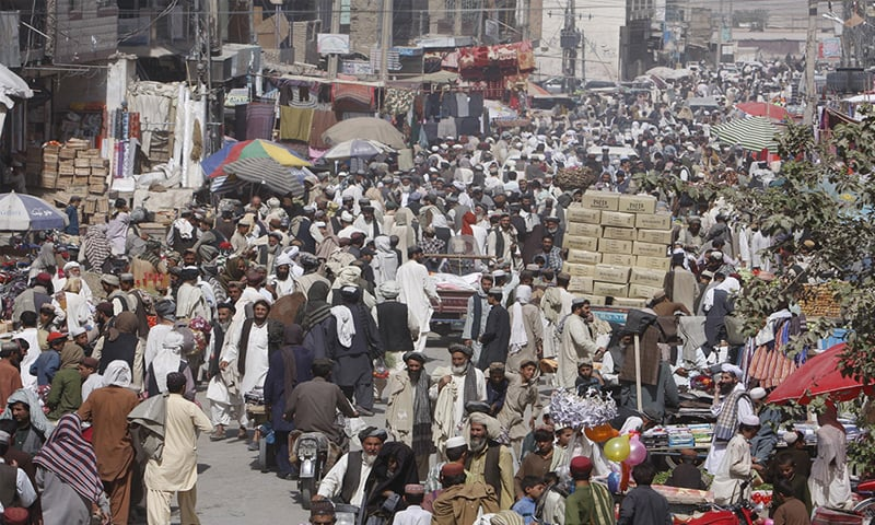 The main bazaar of Chaman where smuggled goods are a thriving business | Dawn file photo