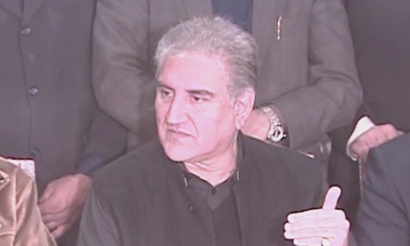Foreign Minister Shah Mahmood Qureshi  addresses a press conference in Multan on Sunday. — DawnNewsTV